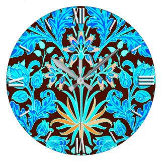 William Morris Hyacinth Print, Aqua and Brown Clock