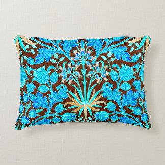 William Morris Hyacinth Print, Aqua and Brown Decorative Pillow