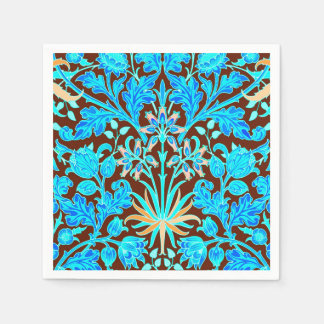 William Morris Hyacinth Print, Aqua and Brown Disposable Napkins