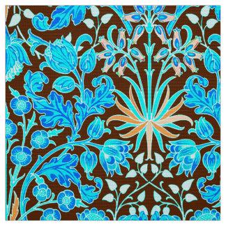 William Morris Hyacinth Print, Aqua and Brown Fabric