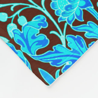 William Morris Hyacinth Print, Aqua and Brown Fleece Blanket