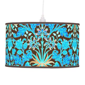 William Morris Hyacinth Print, Aqua and Brown Hanging Lamp