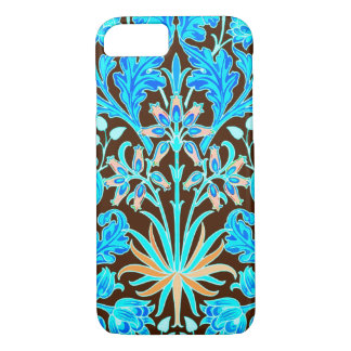 William Morris Hyacinth Print, Aqua and Brown iPhone 8/7 Case