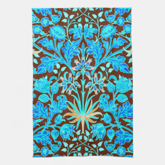 William Morris Hyacinth Print, Aqua and Brown Kitchen Towel