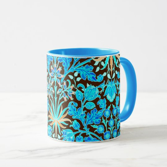 William Morris Hyacinth Print, Aqua and Brown Mug