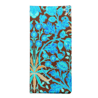 William Morris Hyacinth Print, Aqua and Brown Napkin