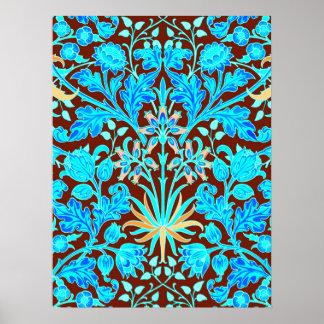 William Morris Hyacinth Print, Aqua and Brown Poster
