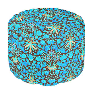William Morris Hyacinth Print, Aqua and Brown Pouf