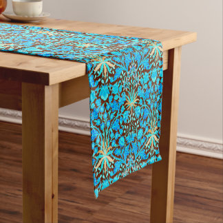 William Morris Hyacinth Print, Aqua and Brown Short Table Runner