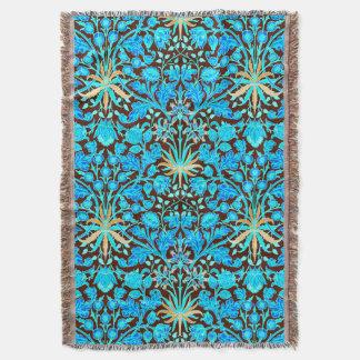 William Morris Hyacinth Print, Aqua and Brown Throw