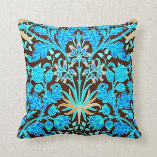 William Morris Hyacinth Print, Aqua and Brown Throw Pillow