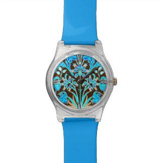 William Morris Hyacinth Print, Aqua and Brown Watch