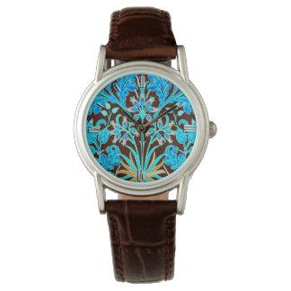 William Morris Hyacinth Print, Aqua and Brown Wrist Watch