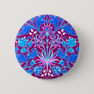 William Morris Hyacinth Print, Aqua and Purple 2 Inch Round Button