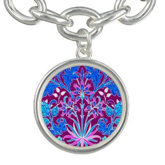 William Morris Hyacinth Print, Aqua and Purple Bracelet