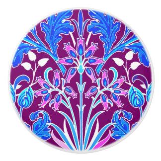 William Morris Hyacinth Print, Aqua and Purple Ceramic Knob