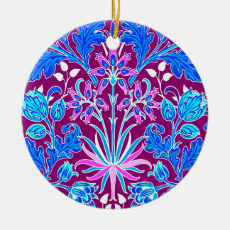 William Morris Hyacinth Print, Aqua and Purple Ceramic Ornament