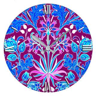 William Morris Hyacinth Print, Aqua and Purple Clock