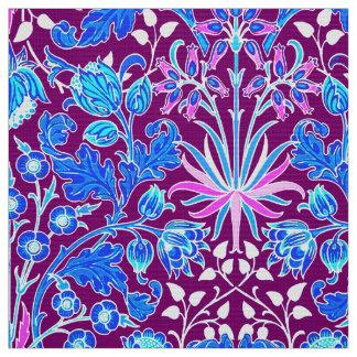 William Morris Hyacinth Print, Aqua and Purple Fabric