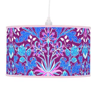 William Morris Hyacinth Print, Aqua and Purple Hanging Lamps