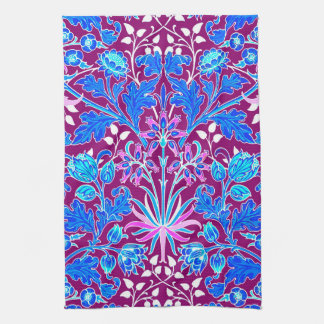 William Morris Hyacinth Print, Aqua and Purple Kitchen Towel