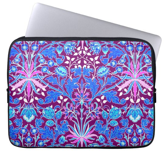 William Morris Hyacinth Print, Aqua and Purple Laptop Sleeve