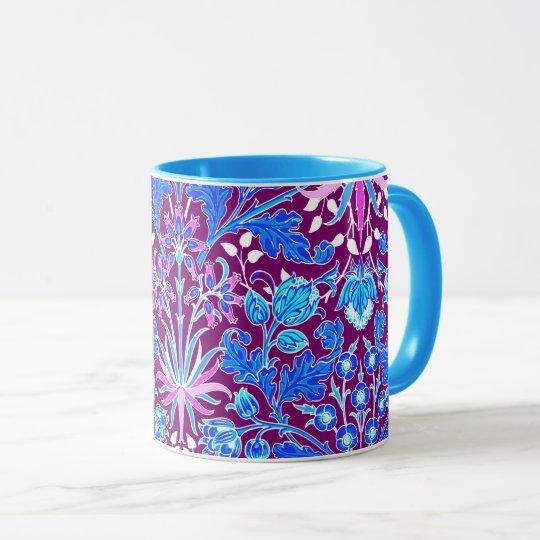 William Morris Hyacinth Print, Aqua and Purple Mug