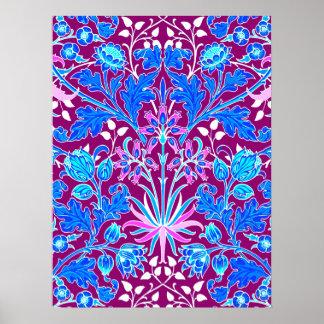 William Morris Hyacinth Print, Aqua and Purple Poster