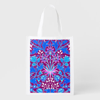 William Morris Hyacinth Print, Aqua and Purple Reusable Grocery Bag