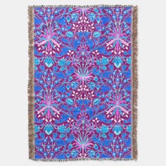William Morris Hyacinth Print, Aqua and Purple Throw Blanket