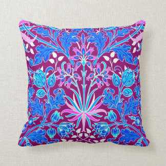 William Morris Hyacinth Print, Aqua and Purple Throw Pillow