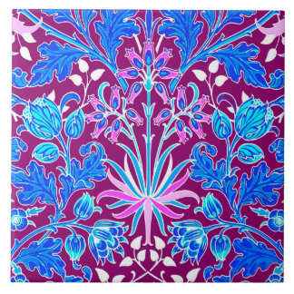 William Morris Hyacinth Print, Aqua and Purple Tile