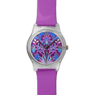 William Morris Hyacinth Print, Aqua and Purple Watch