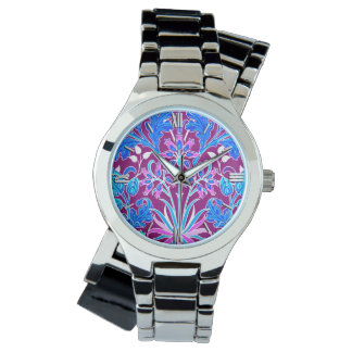 William Morris Hyacinth Print, Aqua and Purple Wrist Watch