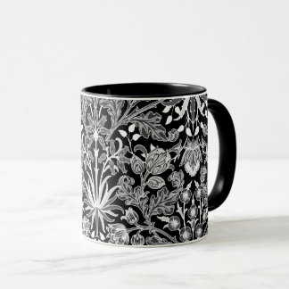 William Morris Hyacinth Print, Black and White Mug