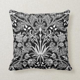 William Morris Hyacinth Print, Black and White Throw Pillow