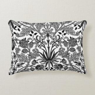 William Morris Hyacinth Print, Black, White & Gray Decorative Pillow
