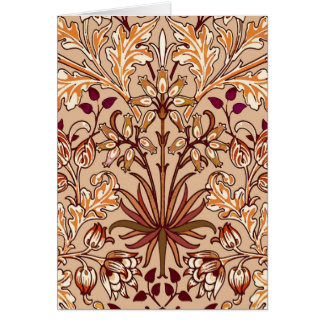 William Morris Hyacinth Print, Brown and Beige Card