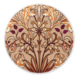 William Morris Hyacinth Print, Brown and Beige Ceramic Knob