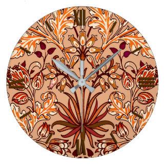 William Morris Hyacinth Print, Brown and Beige Clock
