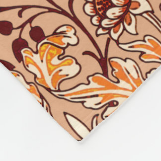 William Morris Hyacinth Print, Brown and Beige Fleece Blanket