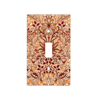 William Morris Hyacinth Print, Brown and Beige Light Switch Cover