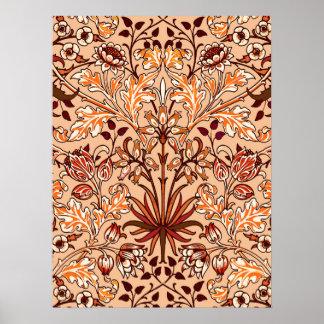 William Morris Hyacinth Print, Brown and Beige Poster