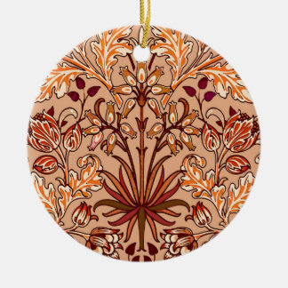 William Morris Hyacinth Print, Brown and Beige Round Ceramic Ornament