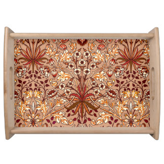 William Morris Hyacinth Print, Brown and Beige Serving Tray