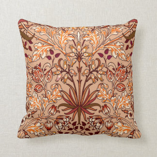 William Morris Hyacinth Print, Brown and Beige Throw Pillow