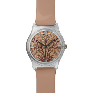 William Morris Hyacinth Print, Brown and Beige Wrist Watch