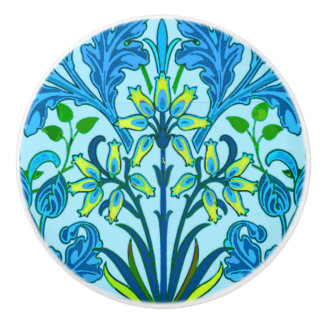 William Morris Hyacinth Print, Cerulean Blue Ceramic Knob