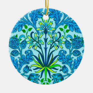 William Morris Hyacinth Print, Cerulean Blue Ceramic Ornament