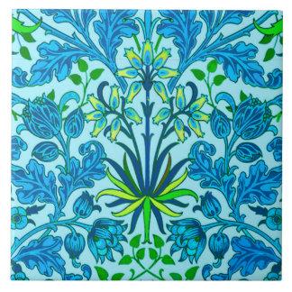 William Morris Hyacinth Print, Cerulean Blue Ceramic Tile